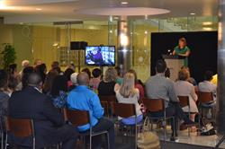 Aimee Kennedy, Vice President of Education,  STEM Learning & Philanthropy at Battelle, talked about the importance of STEM education June 23 at a gathering at Battelle's headquarters. Battelle this year awarded $565,000 to fund 14 out-of-classroom learning projects in Central Ohio.