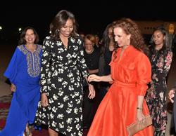 First Lady of the United States Michelle Obama arrives in Morocco and is greeted by Princess Lalla Salma.