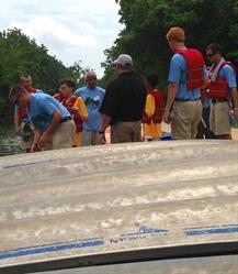 Adventure Team Challenge athletes prepare for canoeing, 2013.