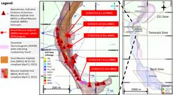 Figure 3: Plan View of the Massive Sulphide Unit (MSU), Semi-Massive Sulphide Unit (SMSU), Downhole Electromagnetic (DHEM) plates and approximate locations of Mixed Massive Sulphide (MMS), MSU and SMSU intercepts described in this press release.