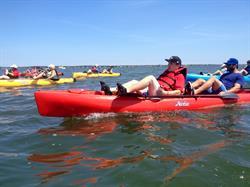 Sea kayak athletes.