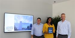 Executives at the Arvato location in Valencia are proud to be named as one of the companies that made the list of Best of Valencia. (left to right, Garo Kechbouladian, Ashaki Rucker, and Dominik Dittrich)