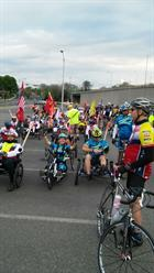 Riders wait for the start of Face of America 2016 in Arlington.