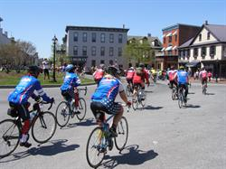 Riding through Gettysburg's downtown square