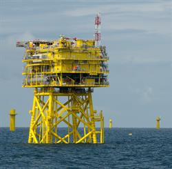 Installed offshore substation and turbine foundations at Nordsee One
