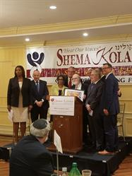 Letitia James, Public Advocat; Menachem Lubinsky, CEO at Lubicom Marketing Consulting; Dr. Herminia Palacio NYC Deputy Mayor of Health and Human Services; Dr. Joshua Weinstein, Founder and CEO of Shema Kolainu; Milton Weinstock, Board Member; Dr. Alan Kadish, President and CEO of Touro College and University System; Scott Stringer, NYC Comptroller; Councilmember Andrew Cohen.