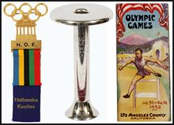 From left: Rare 'National Olympic Committee' Badge, 1936 Berlin Olympics Relay Bearer's Torch, 1932 Los Angeles Olympics Program