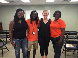 IFE/KNTV and City of Miami Gardens Parks and Recreation staff at the KickinNutrition.TV Training. Left to right: Shaneika Harvey, City of Miami Gardens Recreation District Supervisor; Christopher Wooding, City of Miami Gardens Parks and Recreation; Jamie Klufts, IFE Program Director; and Deborah Wilson, City of Miami Gardens Parks and Recreation
