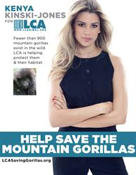 Kenya Kinski Jones in a new ad by LCA to bring attention to the plight of the endangered mountain gorilla.