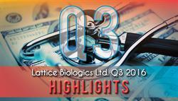 LATTICE BIOLOGICS LTD. REPORTS THIRD QUARTER 2016 HIGHLIGHTS