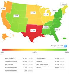 Small Business Jobs Index: Regional Heat Map, August 2016