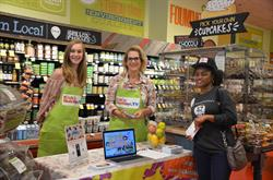 "KickinNutrition.TV show star ""Stacy"" with Producer and customer at Whole Foods Market in Somerville, MA, during 5% Giving Day."