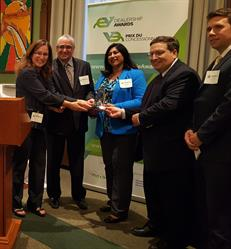 Cara Claireman, President and CEO, Plug n' Drive; Mark Henderson, EVP Asset Management and COO, PowerStream; Neetika Sathe, Vice President, Corporate Development, PowerStream, Tom Mitchell, former CEO, OPG; and Devin McCarthy, VP Public Affairs, CEA, at the Canadian Electric Vehicle Dealership Awards event held Monday evening at Queen's Park.