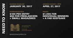 The Magazine Grands Prix are accepting entries and nominations until January 30.