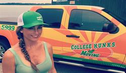 College Hunks Hauling Junk franchisee, Scarlett Dornbrook standing by her junk hauling vehicle