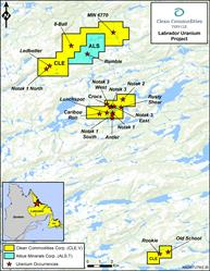 Figure 1 - Labrador Uranium Project (Clean Commodities Corp.)