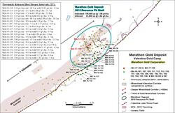 Figure 1: Location map showing the new drill holes MA-17-158 and MA-17-159 as well as the previously released deep targeted drill holes MA-16-101, MA-16-107, MA-16-109, MA-16-111, MA-16-112, MA-16-113, MA-16-116, MA-16-127, MA-16-128, MA-16-130, MA-16-136 and MA-16-149, MA-16-150, MA-16-151, MA-16-152, MA-16-153, MA-16-154, MA-16-155, MA-16-156 and extended drill holes MA-15-032 and MA-15-047. Figure 1 also shows the 2015 Marathon Deposit resource pit shell, the more than 500-meter strike length of the deeper high-grade mineralized corridor as well as the more than 1 kilometer strike length of the near surface mineralization.