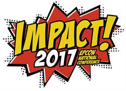 Comic-styled text reading IMPACT!2017 Epcon National Conference