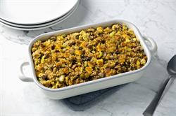 Click for Toasted Pecan, Apple Cider, and Cornbread Stuffing Recipe