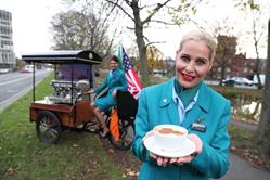 Aer Lingus Cabin Crew enjoying a cup of coffee at the Seattle launch announcement in Dublin, Ireland