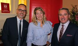 Magazines Canada CEO Matthew Holmes, the Honourable Mélanie Joly, Minister of Canadian Heritage, and Magazines Canada Board Chair Scott Jamieson [L to R] attend the Magazines on the Hill reception in Ottawa on November 21, 2017.