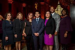 Left to right: Robin Hood board members Marta Tienda and Katie Couric, 2017 Robin Hood Heroes - Ninoska, Victor, and Wendy - with Robin Hood CEO Wes Moore and board member Kaya Henderson.