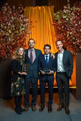 Left to right: Dr. Cristina de la Peña and Brett Stark, co-founders of Terra Firma, 2017 Robin Hood Hero Victor, and Dr. Alan Shapiro, also a co-founder of Terra Firma. Terra Firma is a partnership between Montefiore, Catholic Charities and The Children's Health Fund.