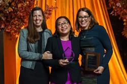 Left to right: Moria Cappio, Children's Aid; 2017 Robin Hood Hero, Wendy; and Phoebe Boyer, Children's Aid.