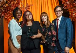 Left to right: Jamiliah Alexander, Breaking Ground; 2017 Robin Hood Hero, Ninoska; Brenda Rosen and Patrick Bonck, Breaking Ground.