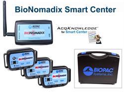 O BioNomadix Smart Center é um sistema simplificado para aquisição e análise de dados que permite que os pesquisadores coletem até 9 canais de dados biométricos em format compacto e sem fio.