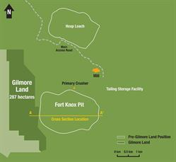 Figure 1: Plan map of the Fort Knox area as of December 11, 2017, highlighting Kinross' pre-existing land position and the additional 287 hectares (709 acres) of Gilmore Land located west of the Fort Knox pit.