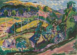 Emily Carr (1871-1945)                                                                                                          Le Paysage, 1911                                                                                                        Oil on board                                                                                                            45.7 x 64.8 cm                                                                                                       Audain Art Museum Collection                                                                                                    Photo:  Trevor Mills