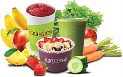 JuiceItUp! product shots depicting smoothie, juice and bowl items surrounded by fresh ingredients