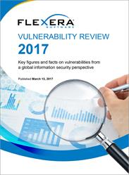 Flexera Software's Vulnerability Review 2017 presents global data on the prevalence of vulnerabilities and the availability of patches, maps the security vulnerability threat to IT infrastructures, and explores vulnerabilities in the 50 most popular applications on private PCs.