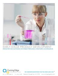 early stage product development, pharmaceutical research and development