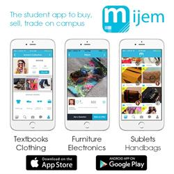 Mijem, a free new app to discover gems nearby! Connect with students and buy, sell, trade on campus.