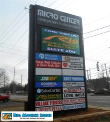 Powers Ferry Plaza Shopping Center in Marietta, GA recently outfitted their main sign with a dynamic full color LED display for showcasing tenants, their services, and specials to help increase awareness and business.