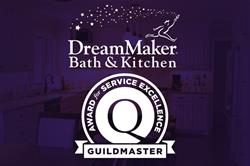 "The phrase ""Award for Service Excellence"" surrounds the GuildQuality ""Q"" logo, with ""Guildmaster"" in"