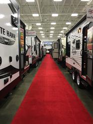 View rows and rows of RVs at the 40th Annual Flint Camper & RV Show