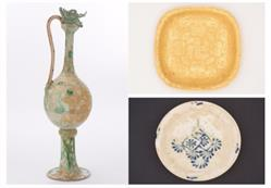 Image captions (clockwise from left): Monumental ewer with incised floral lozenges and clouds. Tang dynasty. Glazed stoneware with copper green splashes over white slip. H. 40 1/2 x W. 9 x D. 10 1/4 in. (102 x 23 x 26 cm). 2005.1.00900; Square lobed gold dish with cased insects, flowers, and knotted ribbons. H. 1 1/4 x W. 6 x D. 4 in. (3.5 x 15.5 x 10). 2005.1.00922; Blue and white dish with medallion. Approx. H. 1 1/4 x Diam. 8 in. (4.5 x 22.5 cm). 2005.1.00473.