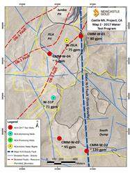 Figure 2 - Plan View of 2017 Water Test Holes, Castle Mountain Project