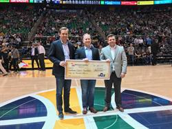 Tony Rasmussen of Mountain America (l.) and George Mathis of the Huntsman Cancer Foundation at the Salt Lake City Stars game on March 31, 2017.