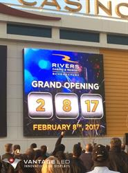 Rivers Casino & Resort General Manager Mary Cheeks announced a surprise for the audience and flipped the switch to reveal a countdown to the new opening date on the LED sign as the audience cheered.