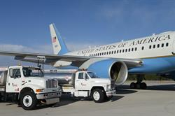 Trucks from EPIC Fuels servicing an aircraft from the 89th Airlift Wing