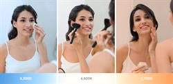 Electric Mirror's new Ava lighted mirror allows women to adjust the light color to match the environment they're preparing for, making precise makeup application possible.