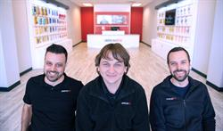 uBreakiFix founders (from L to R) Eddie Trujillo, Justin Wetherill and David Reiff continue expanding their successful tech repair brand across North America, celebrating the 300th store opening today.