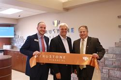 From Left: Branch Manager Michael Brine, Mayor Paul Reinke and TruStone Financial CEO Tim Bosiacki celebrate the ribbon-cutting.