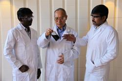 Dr. Aicheng Chen (middle) holds a dispersed Zenyatta GO sample with Dr. Boopathi Sidhureddy (Postdoctoral Fellow) right and Antony Raj Thiruppathi (PhD student) left, Lakehead University in Thunder Bay, Ontario.