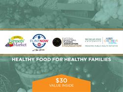 Tom Gores' FlintNOW and the National Basketball Players Association are partnering with the Pediatric Public Health Initiative to give Flint families access to healthy food.  10,000 nutrition booklets will be distributed through Flint schools, containing $300,000 in gift certificates for the Flint Farmers' Market.