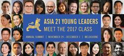 Asia Society announced today 30 members of the 2017 class of Asia 21, the Asia-Pacific's foremost network of young leaders.